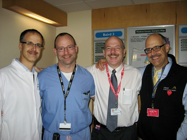 Dr. Bruce Leavitt (at far right) and colleagues are growing mustaches to raise awareness of prostate cancer and testicular cancer for Movember!